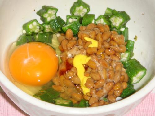 オクラ卵納豆