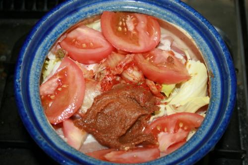 キムチ鍋トマト入り